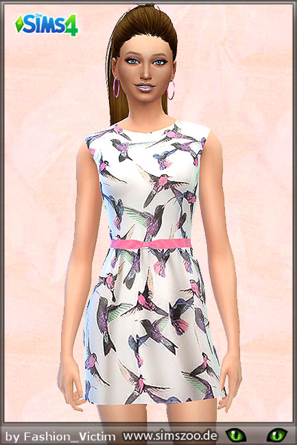 Sims 4 Bird print dress by Fashion Victim at Blacky's Sims Zoo