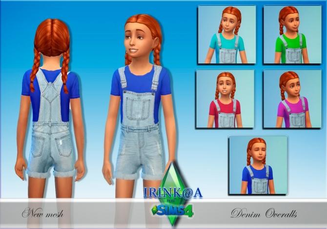 Sims 4 Child Denim Overalls at Irink@a