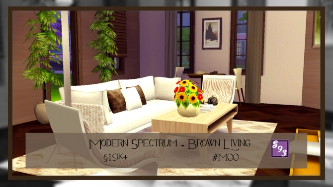 Modern spectrum brown living by shenice93 at the stories for Modern living room sims 4