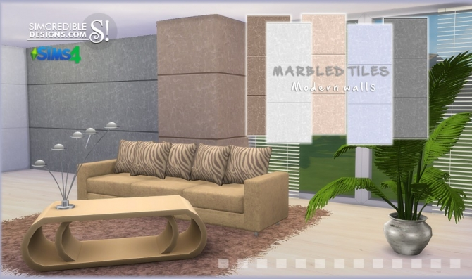 Basic and Marbled tiled walls at SIMcredible! Designs 4 image 1583 Sims 4 Updates