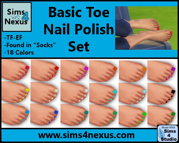 Sims 4 Basic Toenail Polish Set at Sims 4 Nexus