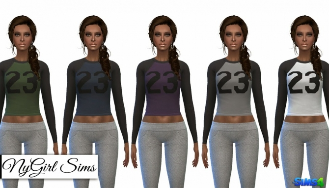 Sims 4 Cropped Jersey Tee and Jogging Leggings at NyGirl Sims