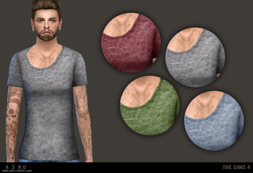 Super slim, wide neck tee at A3RU image 16210 Sims 4 Updates