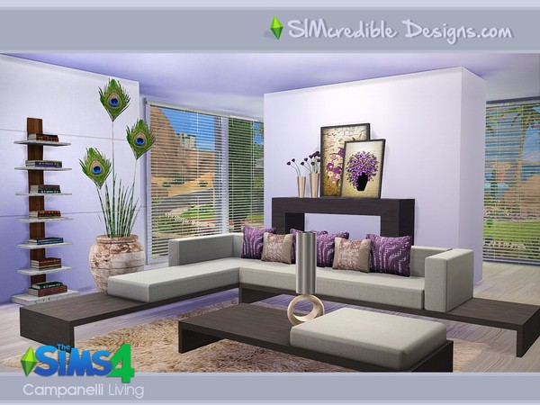 Sims 4 Campanelli livingroom by SIMcredible! at TSR