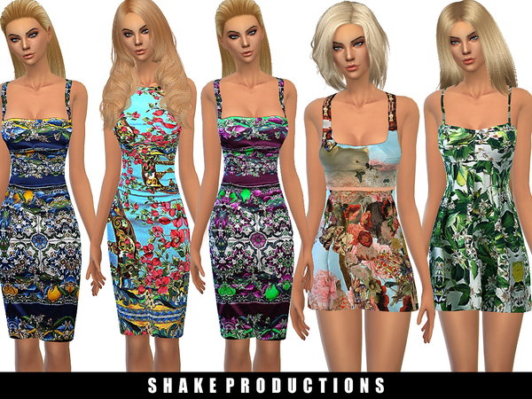 Sims 4 4 printed dresses by ShakeProductions at TSR