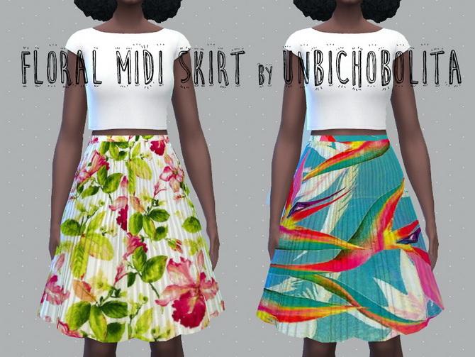 Floral midi skirt at Un bichobolita image 1805 Sims 4 Updates