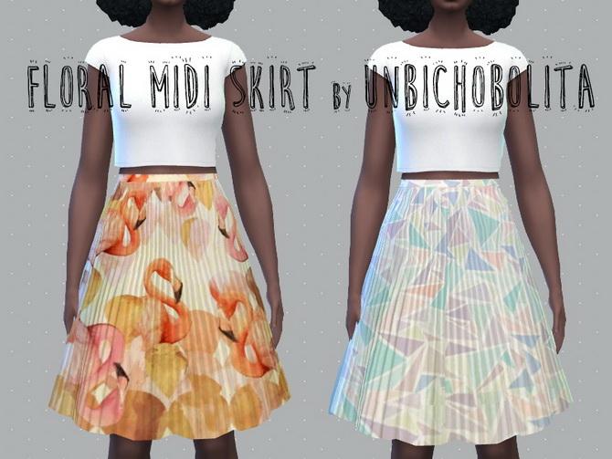 Floral midi skirt at Un bichobolita image 18112 Sims 4 Updates