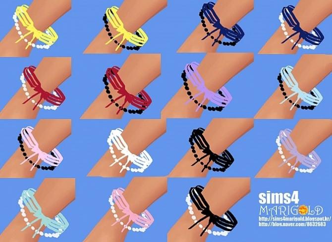 Sims 4 Ribbon & pearl bracelet at Marigold