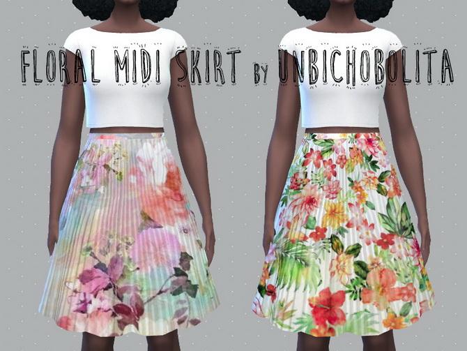 Floral midi skirt at Un bichobolita image 18210 Sims 4 Updates