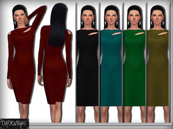 Cutout Stretch Jersey Dress by DarkNighTt at TSR image 18410 Sims 4 Updates