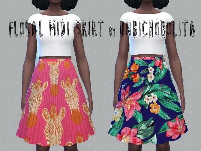 Floral midi skirt at Un bichobolita image 1847 Sims 4 Updates