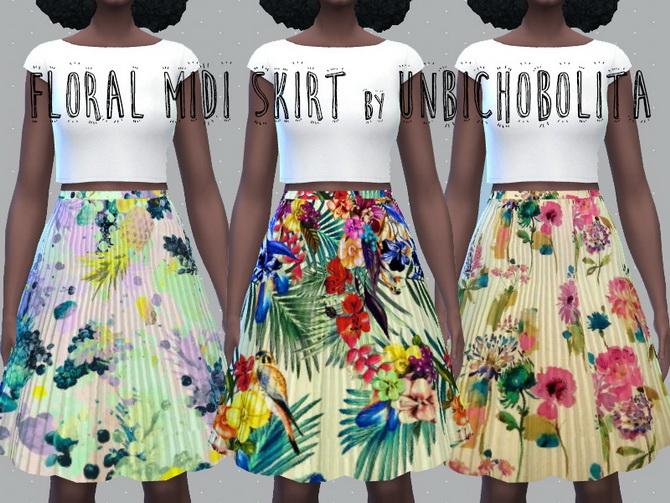 Floral midi skirt at Un bichobolita image 1857 Sims 4 Updates