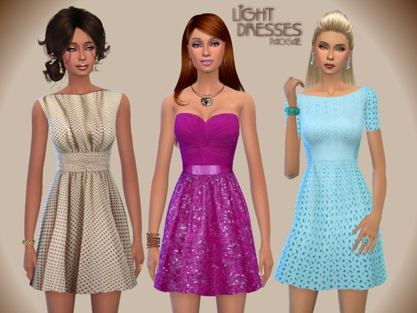 Sims 4 Light Dresses by Paogae at TSR