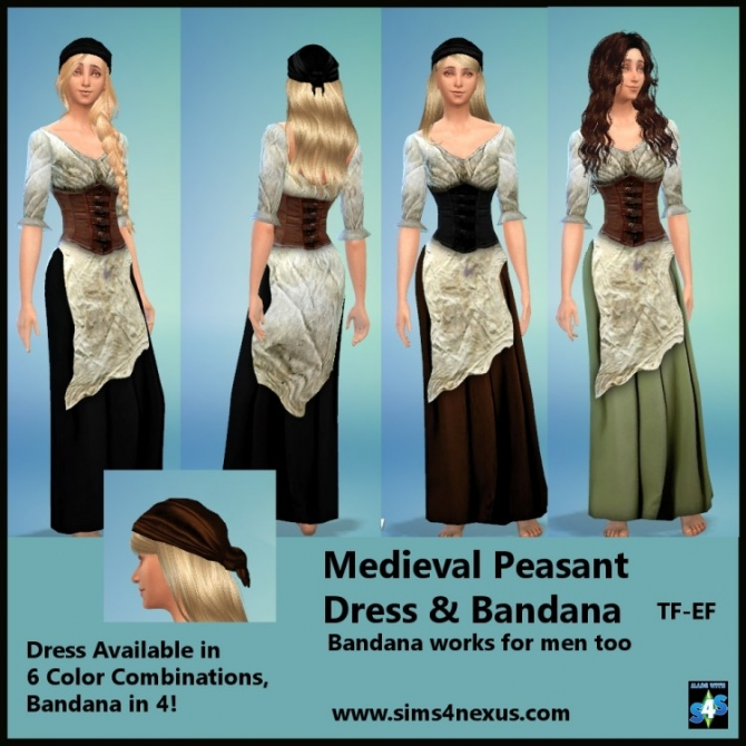 Medieval Peasant Dress Amp Bandana At Sims 4 Nexus 187 Sims 4