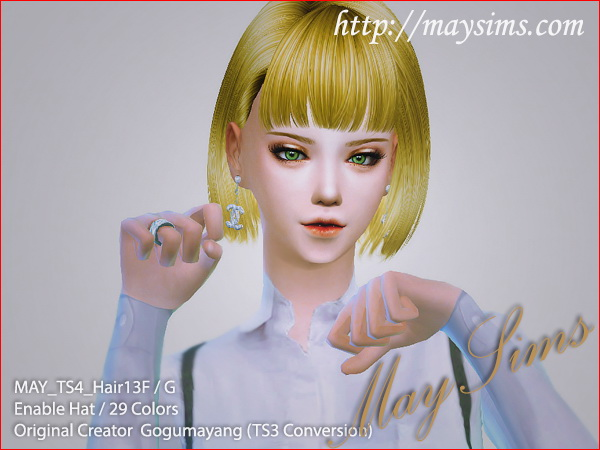 Hair 13F / G (GogumaYang   Newsea mesh edit) at May Sims image 1954 Sims 4 Updates