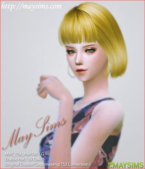 Hair 13F / G (GogumaYang   Newsea mesh edit) at May Sims image 1965 Sims 4 Updates
