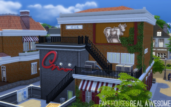 Sims 4 Gymrat's & The Copper Cow at Fake Houses Real Awesome