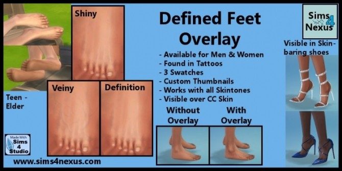Sims 4 Defined Feet Overlay by SamanthaGump at Sims 4 Nexus