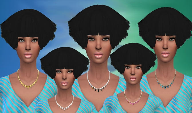 Sims 4 Set of 5 Stone Necklace recolor at Dreaming 4 Sims