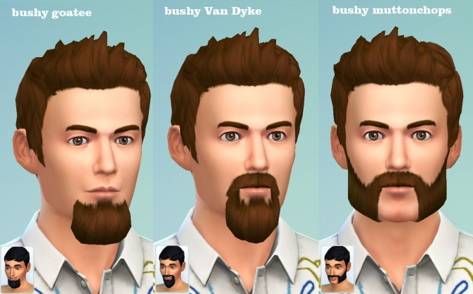 Sims 4 Bushy Goatee, Van Dyke and Muttonchops beards by necrodog at Mod The Sims
