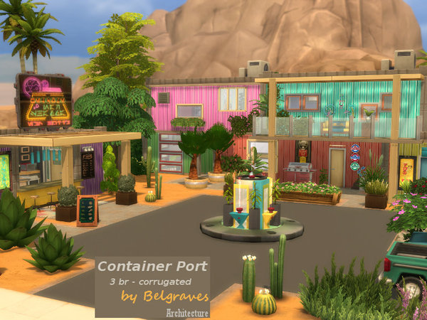 Sims 4 Container Port by Leander Belgraves at TSR