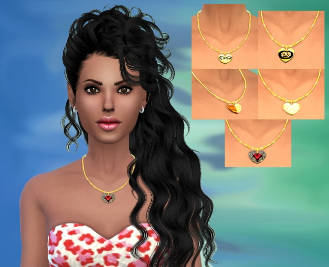 Sims 4 Set of 5 Hearts Of Necklace at Dreaming 4 Sims