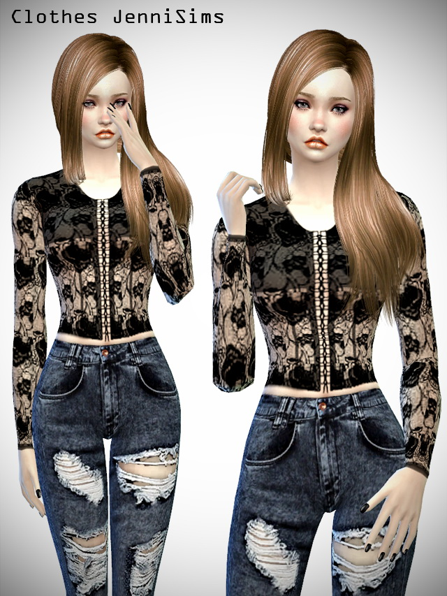 Sims 4 Sweetness clothes set at Jenni Sims