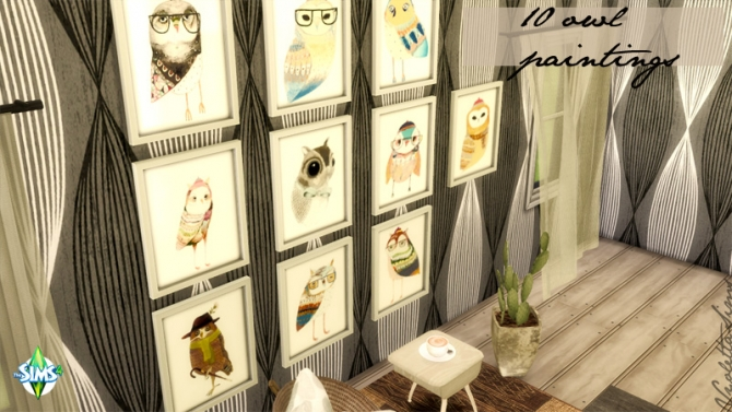 10 Owls Paintings at Mandarina's Sim World image 21751 Sims 4 Updates