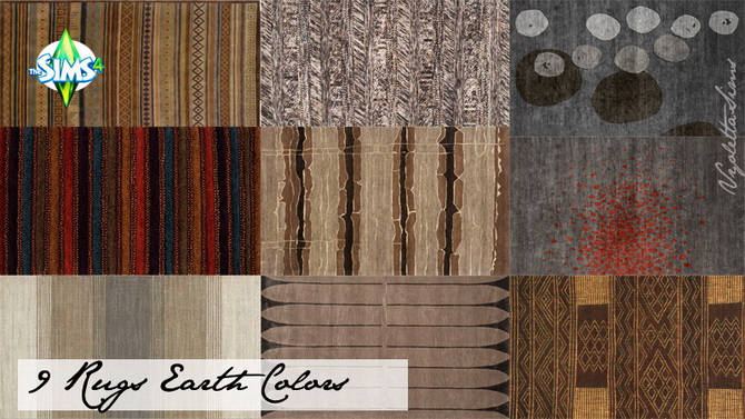 9 Rugs earth colors at Mandarina's Sim World image 2185 Sims 4 Updates