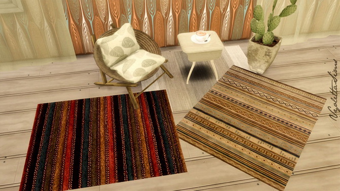 9 Rugs earth colors at Mandarina's Sim World image 2194 Sims 4 Updates