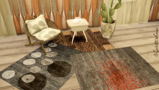 9 Rugs earth colors at Mandarina's Sim World image 22110 Sims 4 Updates