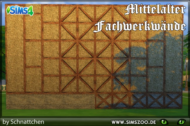 Sims 4 Middle Ages Tudor 1 walls by Schnattchen at Blacky's Sims Zoo