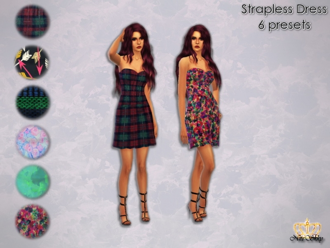 Sims 4 Strapless Dress in 6 presets at NiteSkky Sims