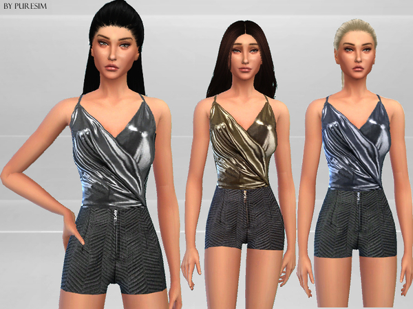 Sims 4 Metallic Jumpsuit by Puresim at TSR
