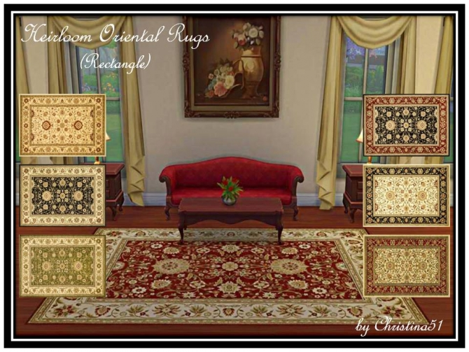 Sims 4 Heirloom Oriental Rugs by Christina51 at Mod The Sims