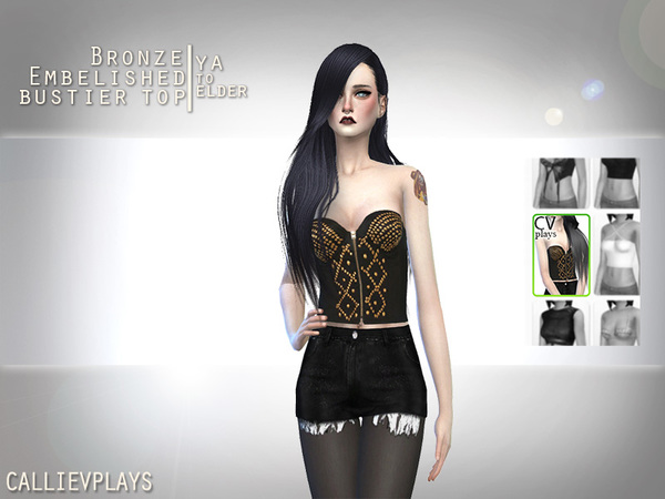 Sims 4 Bustier Top with Bronze Embelishments by Callie V at TSR
