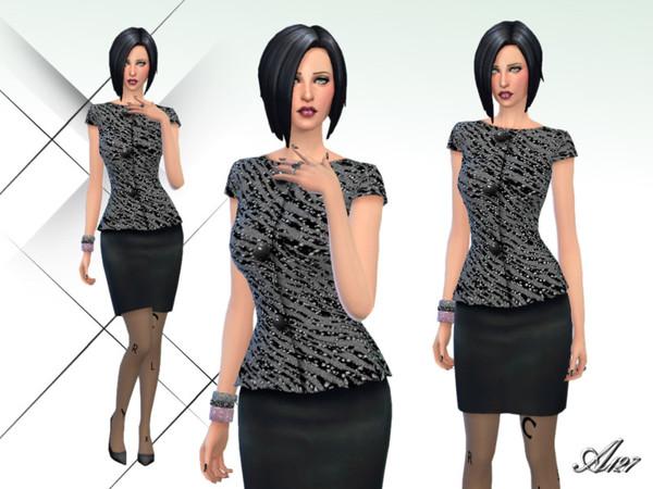 Sims 4 Black Night dress by altea127 at TSR