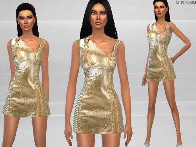 Gold Biker Dress at Puresim image 2524 Sims 4 Updates