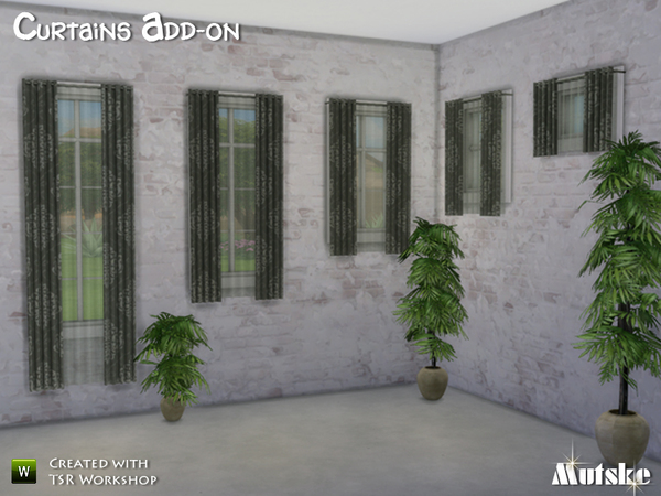 Sims 4 Curtains add on by Mutske at TSR