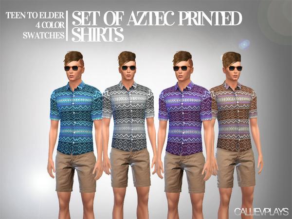 Aztec Print Short Sleeve Shirt By Callie V At Tsr 187 Sims 4