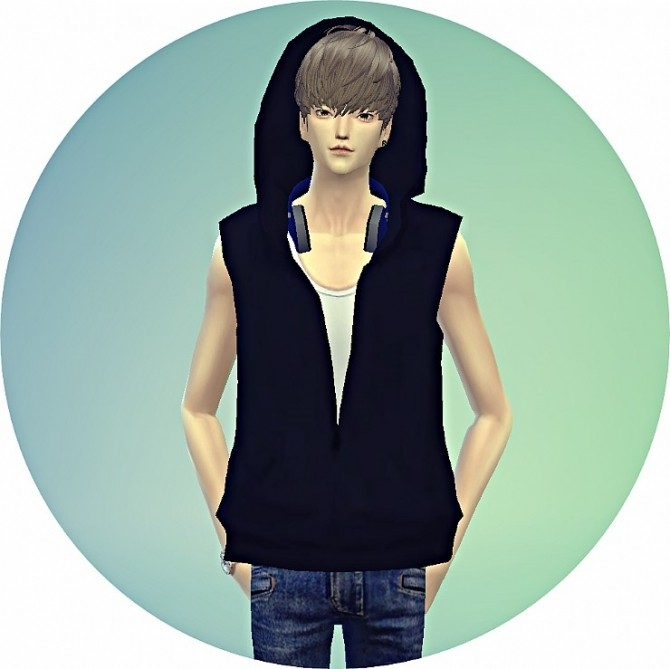 Sims 4 Male ears hood vest acc. at Marigold