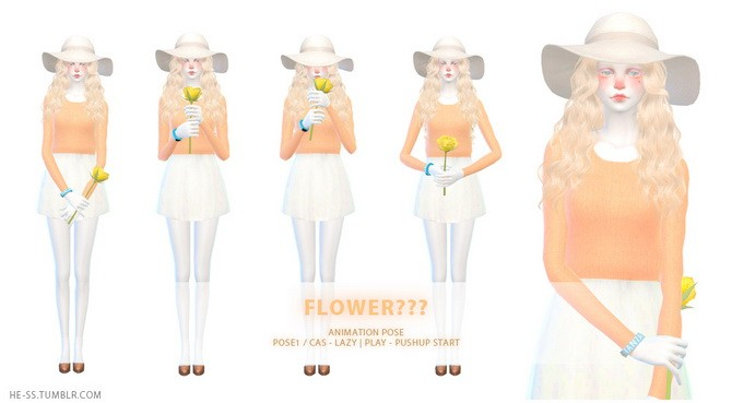 Sims 4 Flower??? CAS & PLAY Animation Pose 1,2 at HESS