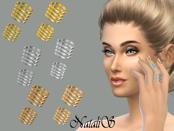 Sims 4 Middle finger stacks ring set by NataliS at TSR