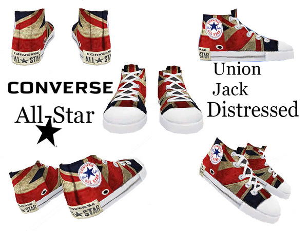Union Jack Distressed sneakers by Pinkzombiecupcakes at TSR image 4541 Sims 4 Updates