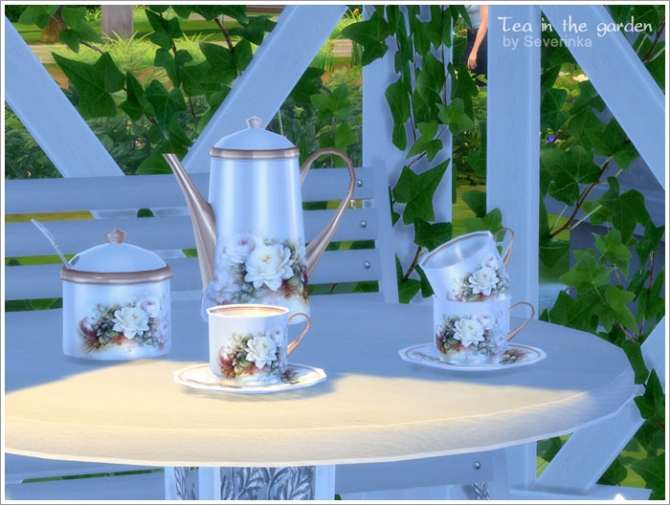 Tea in the garden garden set at Sims by Severinka image 459 Sims 4 Updates