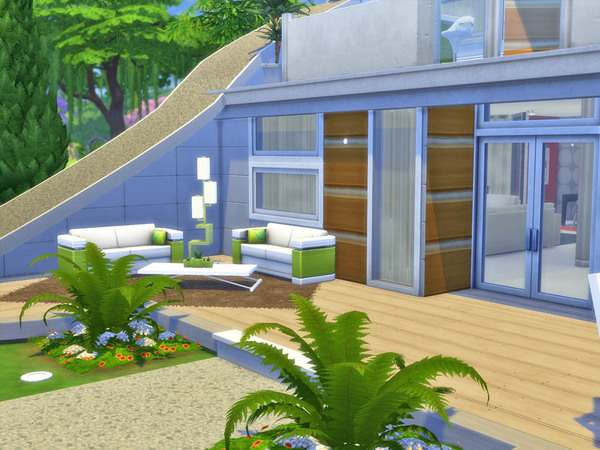 Sims 4 Curved house by Guardgian at TSR