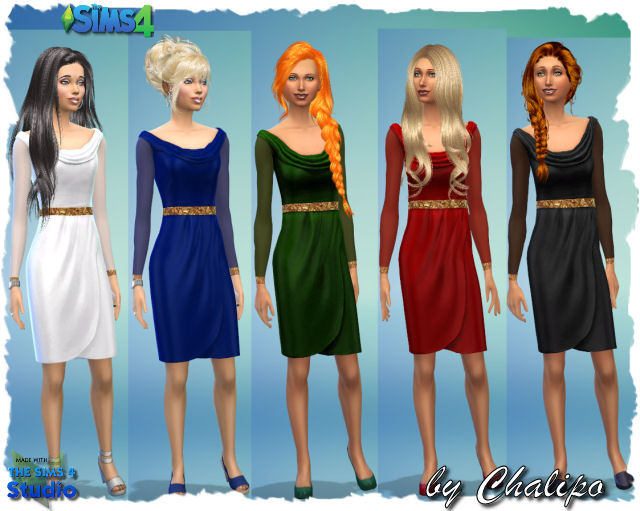 Sims 4 Evening dress with sleeves by Chalipo at All 4 Sims