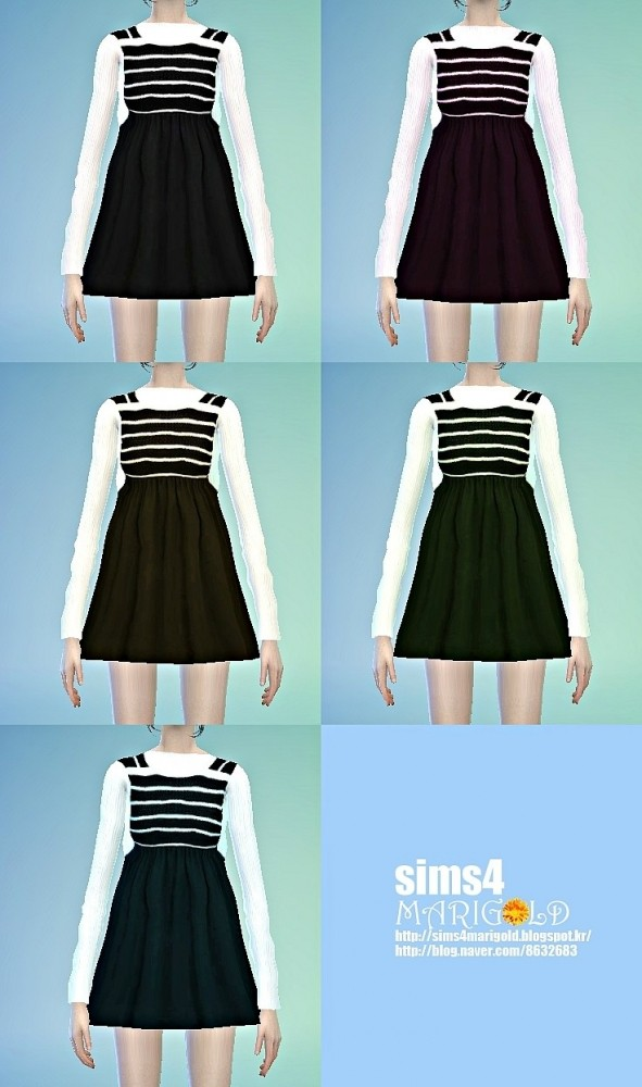 Sims 4 Stripe point one piece at Marigold