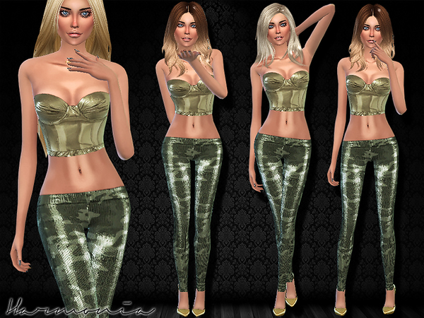 Set 010 metallic bra top and tights by Harmonia at TSR image 5201 Sims 4 Updates