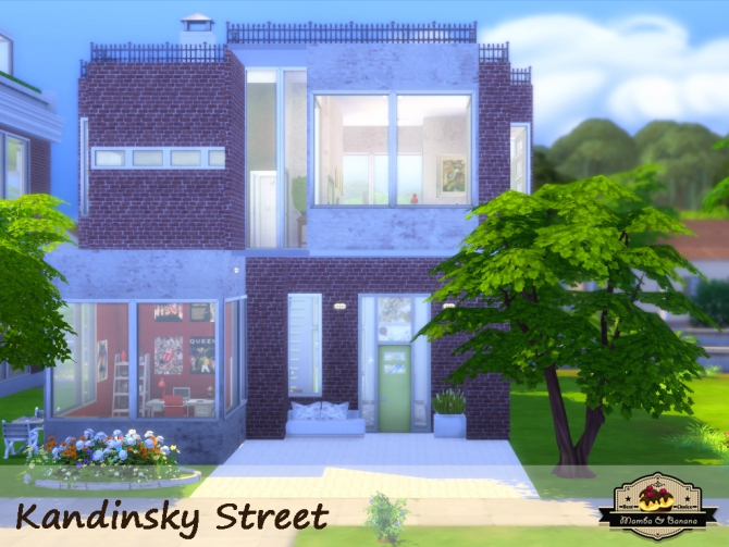 Kandinsky street modern house by mamba black at mod the Casas modernas sims 4 paso a paso